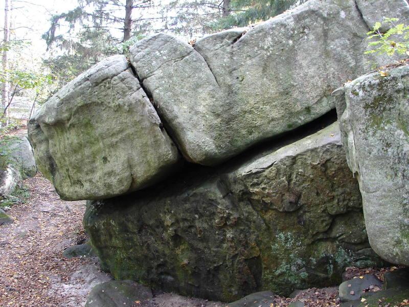 Climb up through the break in the rock