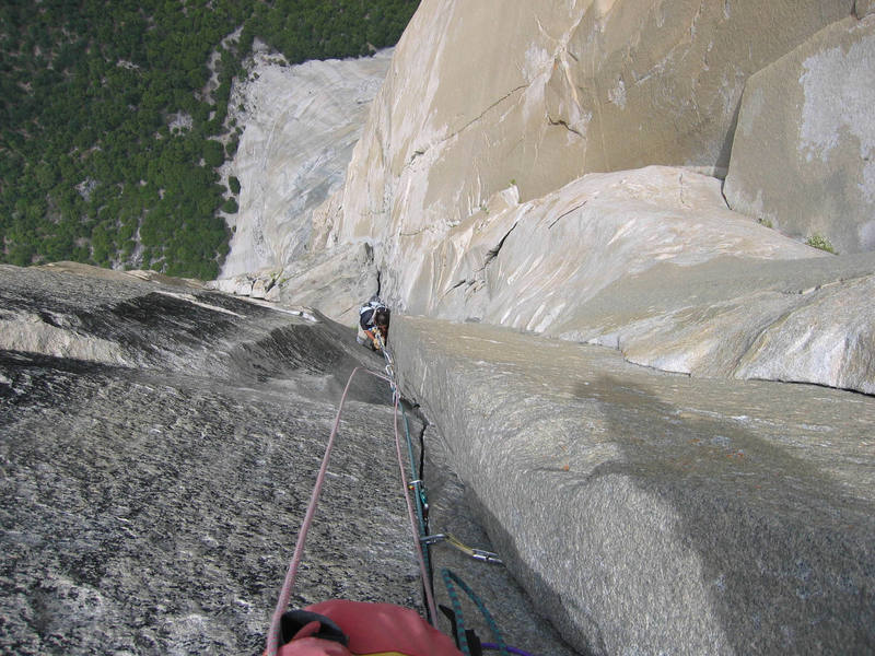 Looking down the 'Changing Corners' pitch on The Nose