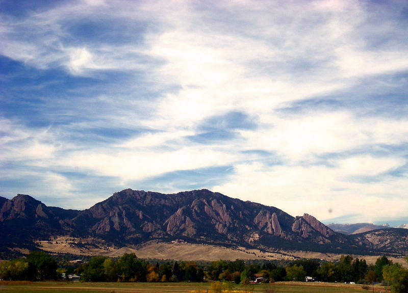 View of the Flatirons coming in on Highway 36.