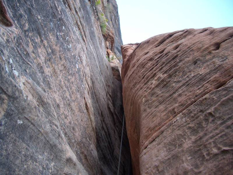 The 5.5 Gully after the last aid pitch. I hauled using the far end hauling system which made getting my bag and ledge up pretty casual.