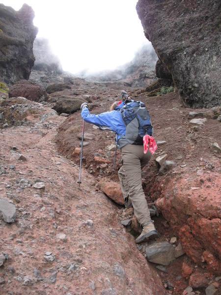 Nancy Bell nears the top of Ruminahui Norte, Ecuador.