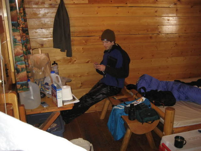 Inside one of the ouray riverside inn cabins. Cozy, but cheap and climber friendly. Bunk beds not shown.