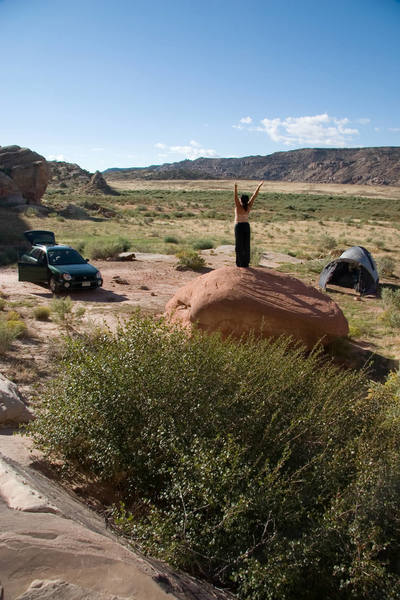 Erica working out her her Yoga stretches in our beautiful campsite.