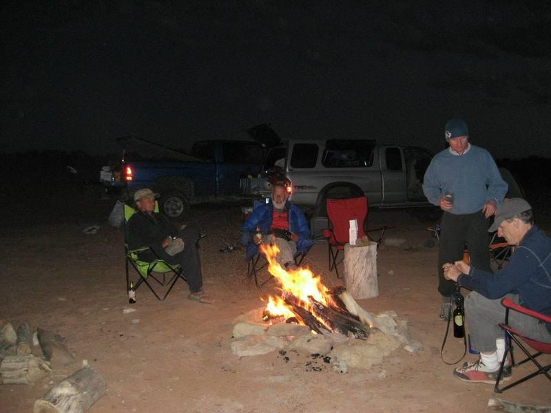 Desert Camp. L to R Layne Potter, Chris Bonington, Andy Ross ,Jim Howe.