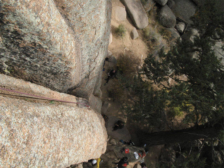 This is me looking down from the first good ledge to rest at.