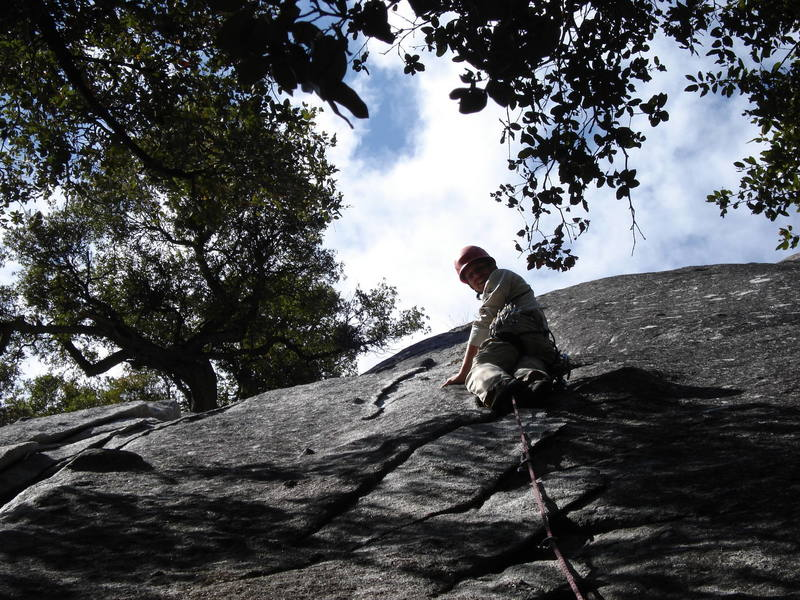 Chuck leading the flake variation 5 feet right of the regular route.