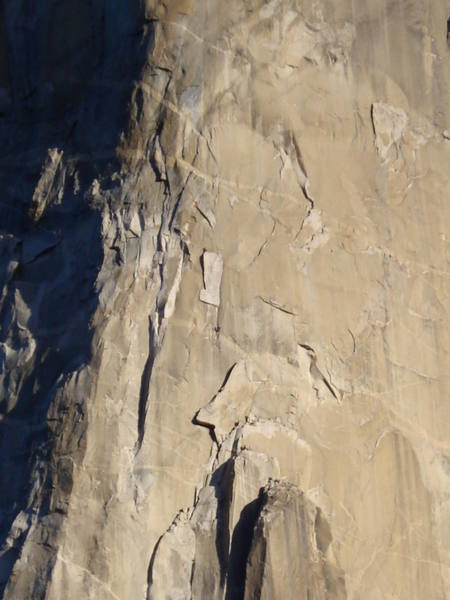 The Huber brothers on their speed record.  One on top of the Boot Flake, the other on the way up.  Other climbers at the base of Texas Flake and some on top of Dolt Tower.