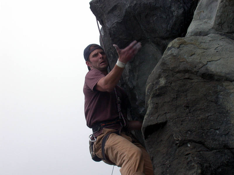Phil concentrating hard just before the second crux. Dream Theme, 11c.