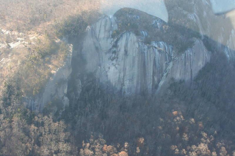 Cougar Crag (left) Main Wall (center)<br> Desperado Wall (right)