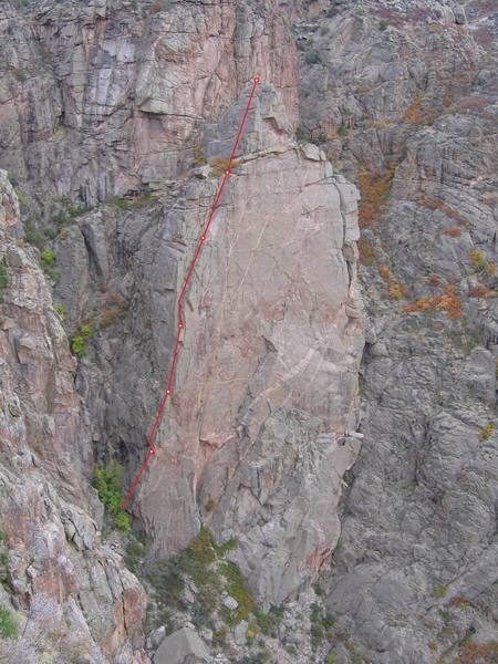 The route is straightforward, but just in case you need a topo. Belay ledges indicated.
