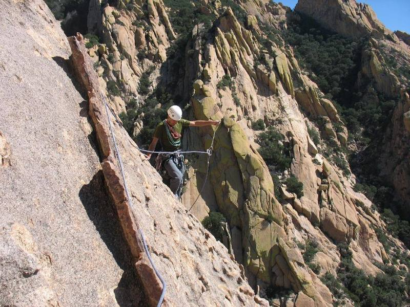 Mark finishing up the 4th pitch. Easy runout climbing. As you can see by the large amount of slack I couldn't keep up with his climbing.
