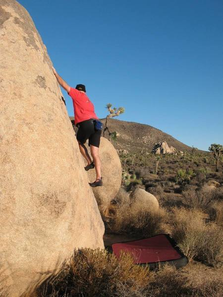 Midway on Dances With Weasels (V0), Joshua Tree.