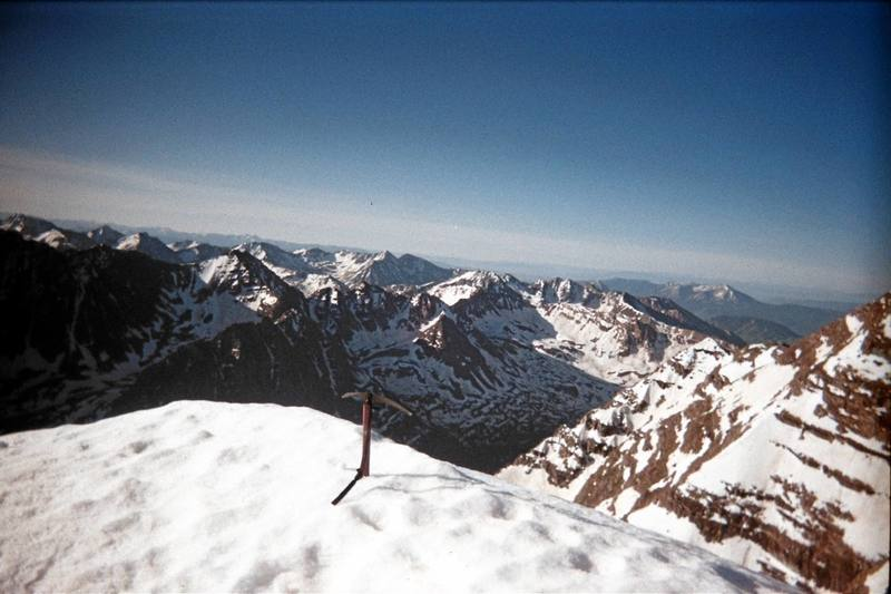 Summit of North Maroon at 7:30 a.m., early June 2007; Maroon Peak is to the right.