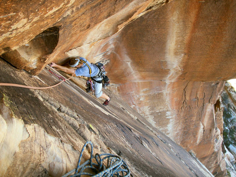 Andrew Gomoll styling the delicate moves of the Shamrock Roof on the first ascent.