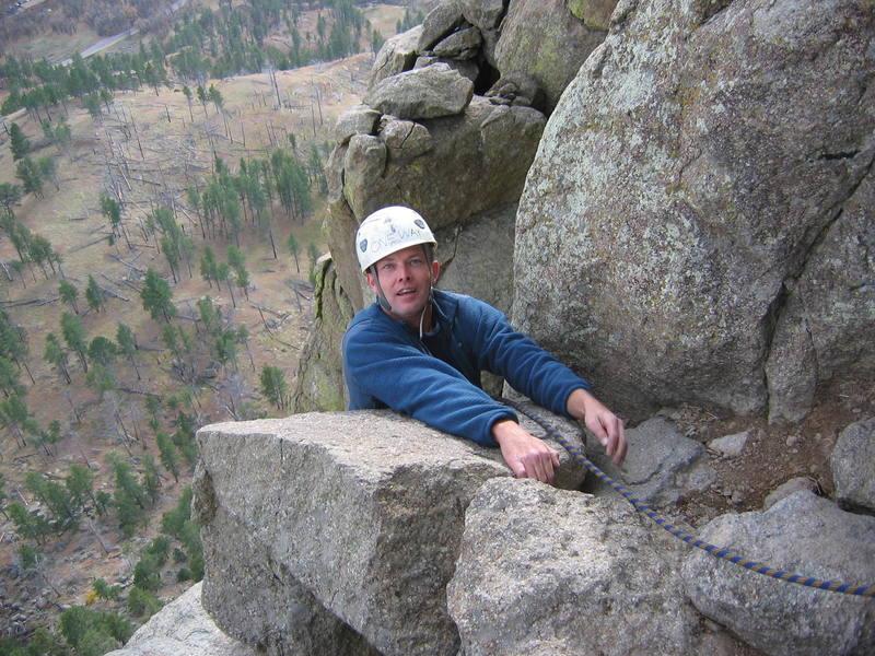 Mark at the top of Chockstone Chimney.