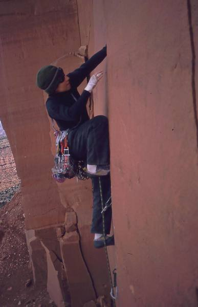 Joseffa Meir starts up on 'Lightning Bolt Cracks (5.11)' on the North Six Shooter. Photo by Tony Bubb, 1998 (?)