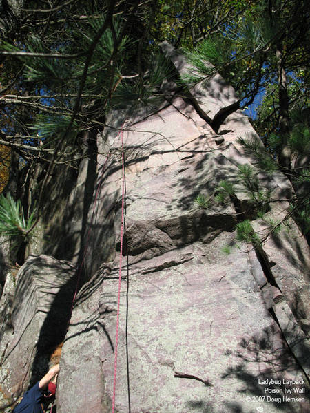 The left-slanting crack in the prow, on the right in this photo.  Steve is doing another, unnamed route to the left.