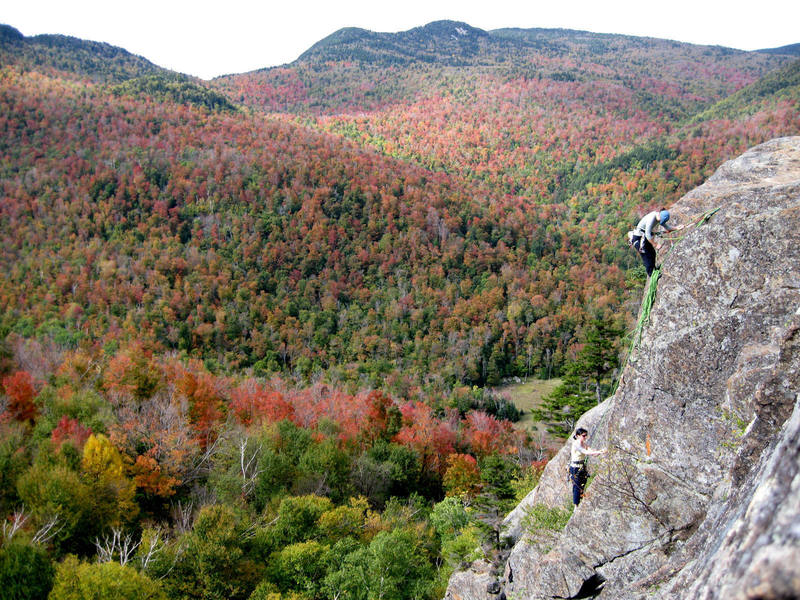 """View from atop the cliff while Lindsay belays Ara up """"Bachelors and Bowery Bums"""" (5.7).<br> <br> Photo by, Liam Griffin"""