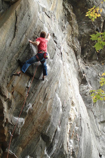 unknown climber walking the crux of Big K... nice work...