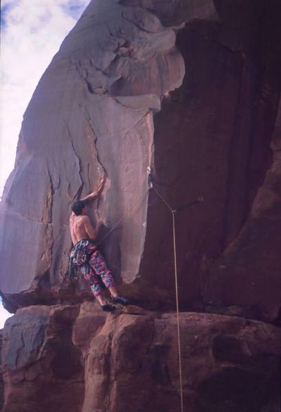 Tony Bubb, puzzled on 'Possessed (5.11+)' in Kane Creek Canyon. Maybe it was the pants? Photo by Dave Stewart, 2004.