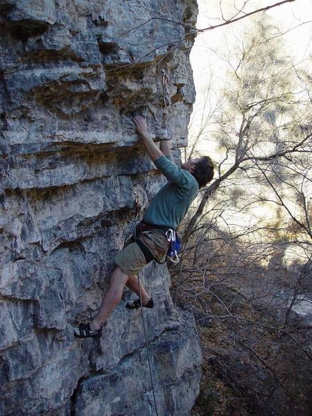 Walt starting on the best part of the route: big moves on big holds.