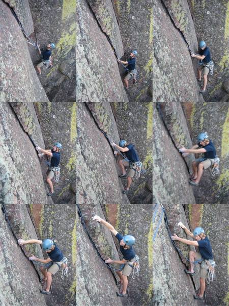 Matt Gates pulls through the crux of Dihedral