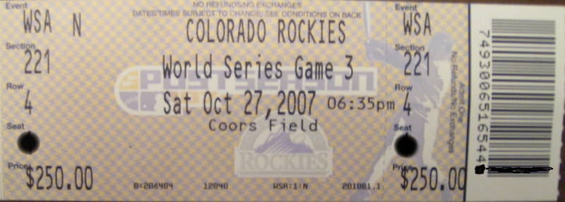 Rockies - Red Sox World Series ticket #1