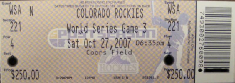 Rockies - Red Sox World Series ticket #2