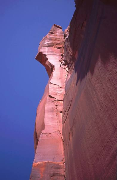 Resevior Wall is tall and clean, giving rise to fantastic features, both climbed and unclimbed. Photo of unknown tower and corner at the Rez by Tony Bubb, 2005.