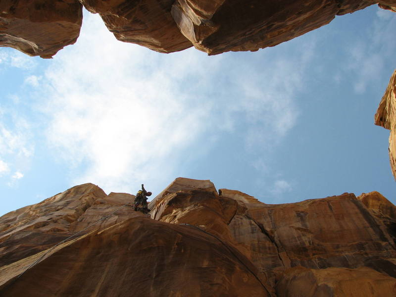 On the second pitch of Desert Guardian on the first ascent.<br> <br> Photo- Maura H.