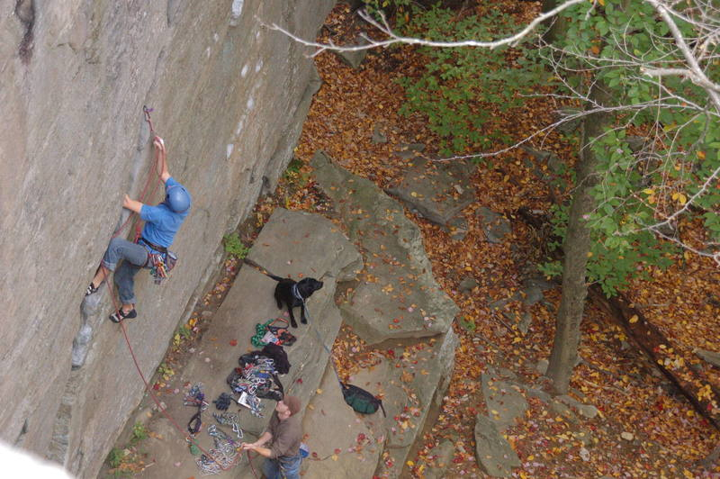 Ladd making the 1st moves up the diagonal crack.