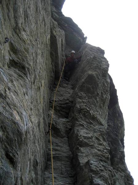 """My first chimney climb.  The classic  """"Shortcut to Exposure"""" (5.9) in Wanaka."""