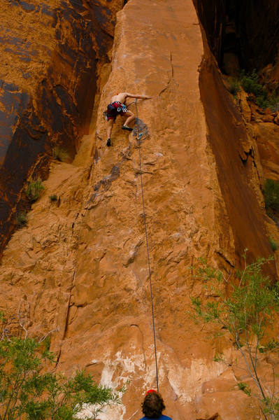 Rambo leading the way up the Slab. <br> <br> photo by Andy Librande.