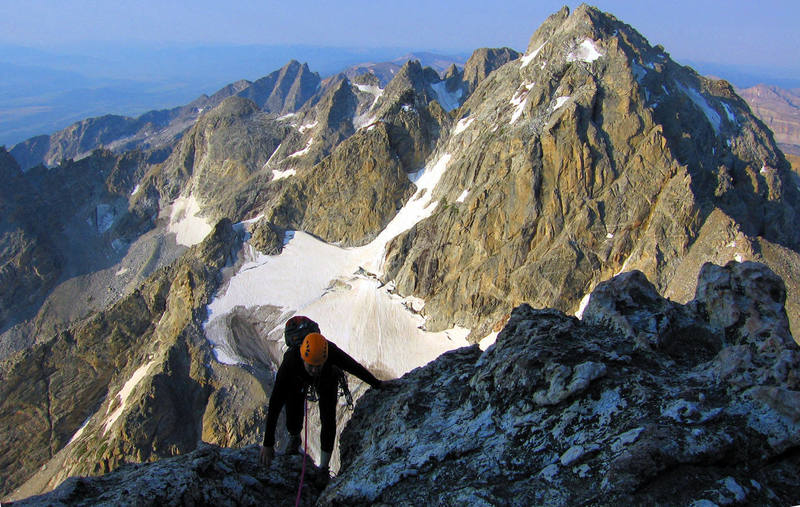 Nat on the Grand Teton, Upper Exum Ridge with the Middle Teton in the background.