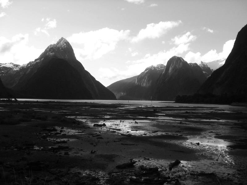 Mitre Peak at low tide on Milford Sound.  Its 1 mile high, and it drops straight down into fjord.  This is one of the most beautiful places I've ever been.  Definitely on par with Yosemite.