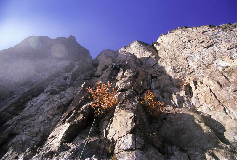 Crux of Pussyfoot. Scars and Tripes visible on the right and the diagonal traverse pitch of Laceration Jam can be seen on the left. Photo: Darin Limvere.