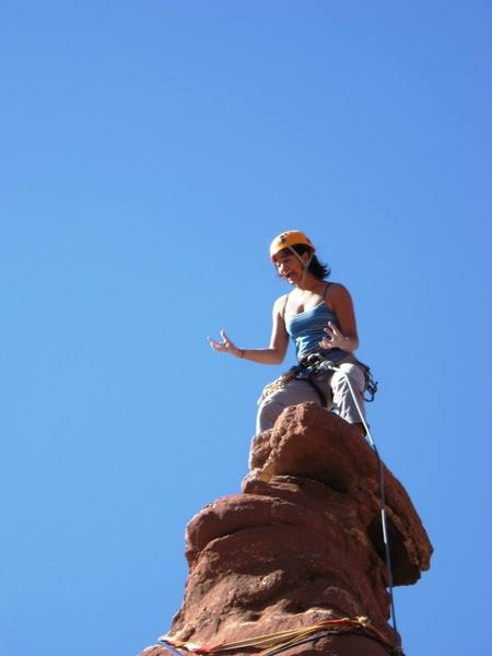"""Larissa freaking out on the summit of """"Ancinet Art""""."""