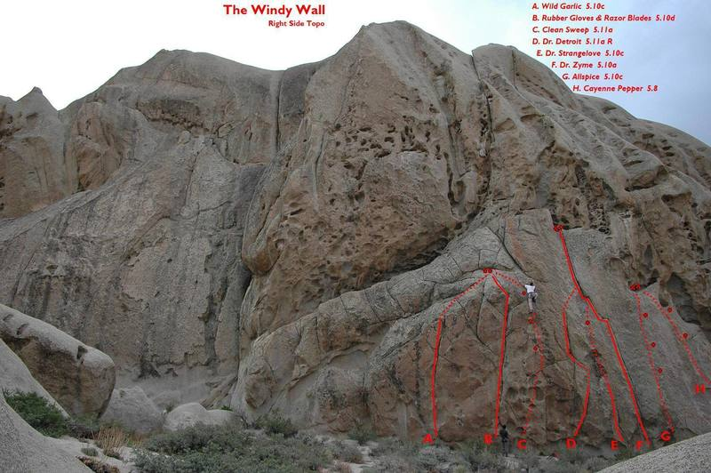 A few fun routes on the right side of the west-facing Windy Wall