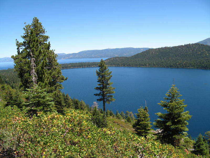 Beginning the hike to Mt. Tallac with fallen leaf lake and Lake Tahoe in the background