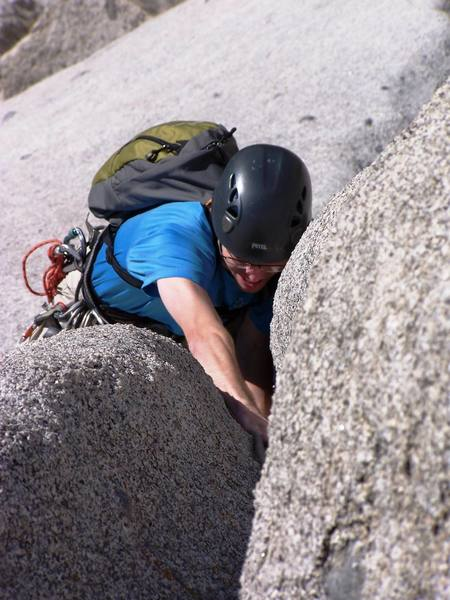 """Ryan B digging the tricky part of the """"Groove"""" pitch, just before Lunch Ledge anchors.  Getting ready for the lead on S-Direct."""