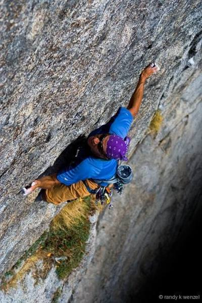 Enjoying a variation of 'Pennies On The Patio' (5.8 - 5.10), Moro Rock, Sequoia NP (photo by Randy Wenzel)