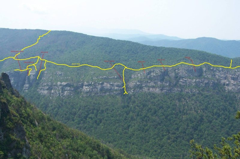 Overview of the northern end of GCC and the respective access trails to each crag.
