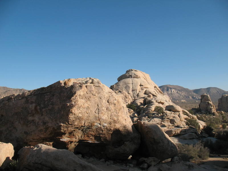 The Lizzie Boulder with the large mass of  The Blob in the background.