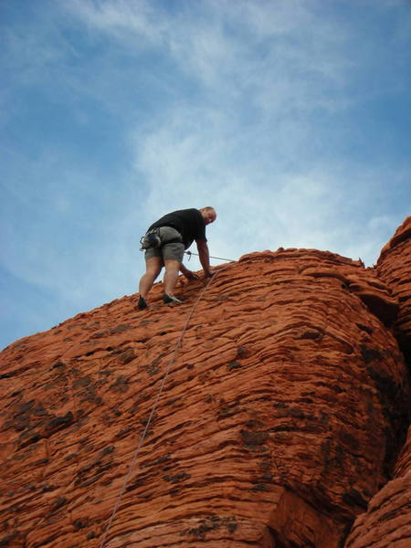 Nate at the top!!!  I was tired of the raining rock!!!