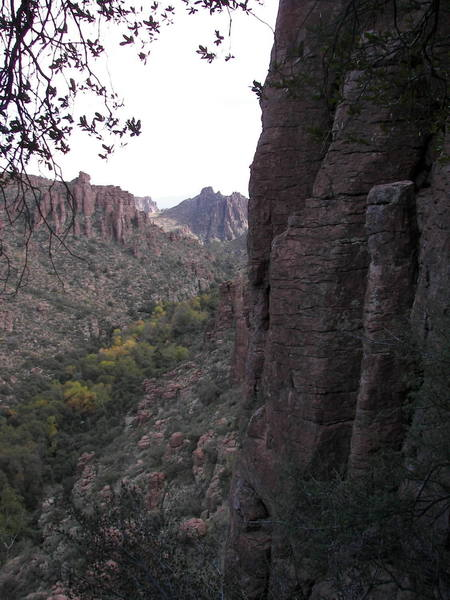 View looking south down Devils Canyon with the stove-pipe entrance to the chimney approach on the right.