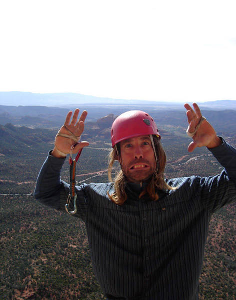 Goofing off on the 5th pitch of Four Flying Apaches in Sedona.  Photo by Monica Miller.