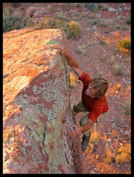 At the commonly used bivy site there is a cool boulder with several fun, moderate problems.  If you do choose to bivy there, don't miss sunset bouldering at this beautiful spot.  Photo by Justin York.