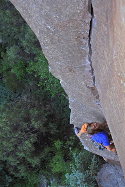 Milking a small but great left foothold near the crux of The Prow.  Photo by Jordan M.