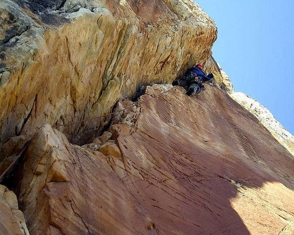 This is the second pitch of Pegasus on Mt Hayden in the Grand Canyon.  The first 2 pitches are both crux pitches.  The 3rd pitch, although easier, isn't a gimme either.  Mt Hayden is one of the best summits around. Photo by Markguycan.