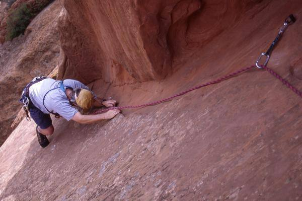 Gary Jenkins just above the crux - note the  hiking boots... what a stud!